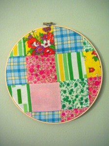 patchwork embroidery hoop quilt squares pink green blue yellow bright